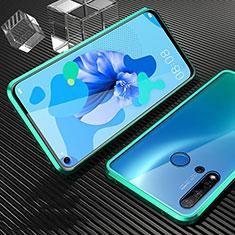 Handyhülle Hülle Luxus Aluminium Metall Rahmen Spiegel 360 Grad Ganzkörper Tasche T03 für Huawei Nova 5i Cyan
