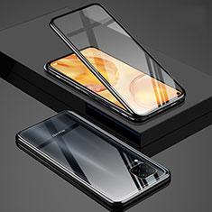 Handyhülle Hülle Luxus Aluminium Metall Rahmen Spiegel 360 Grad Ganzkörper Tasche T03 für Huawei Nova 6 SE Schwarz