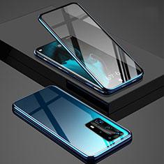 Handyhülle Hülle Luxus Aluminium Metall Rahmen Spiegel 360 Grad Ganzkörper Tasche T03 für Huawei P40 Pro+ Plus Blau