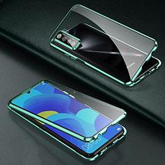 Handyhülle Hülle Luxus Aluminium Metall Rahmen Spiegel 360 Grad Ganzkörper Tasche T03 für Oppo Find X2 Lite Grün