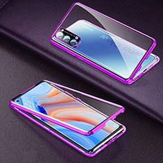 Handyhülle Hülle Luxus Aluminium Metall Rahmen Spiegel 360 Grad Ganzkörper Tasche T03 für Oppo Reno4 Pro 5G Violett