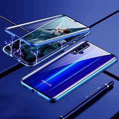 Handyhülle Hülle Luxus Aluminium Metall Rahmen Spiegel 360 Grad Ganzkörper Tasche T04 für Huawei Nova 5 Blau