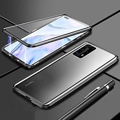 Handyhülle Hülle Luxus Aluminium Metall Rahmen Spiegel 360 Grad Ganzkörper Tasche T04 für Huawei P40 Pro+ Plus Schwarz
