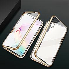 Handyhülle Hülle Luxus Aluminium Metall Rahmen Spiegel 360 Grad Ganzkörper Tasche T04 für Samsung Galaxy Note 10 5G Gold