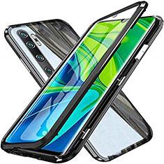 Handyhülle Hülle Luxus Aluminium Metall Rahmen Spiegel 360 Grad Ganzkörper Tasche T04 für Xiaomi Mi Note 10 Pro Schwarz