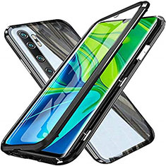 Handyhülle Hülle Luxus Aluminium Metall Rahmen Spiegel 360 Grad Ganzkörper Tasche T04 für Xiaomi Mi Note 10 Schwarz