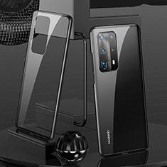 Handyhülle Hülle Luxus Aluminium Metall Rahmen Spiegel 360 Grad Ganzkörper Tasche T05 für Huawei P40 Pro+ Plus Schwarz