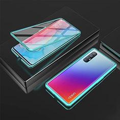 Handyhülle Hülle Luxus Aluminium Metall Rahmen Spiegel 360 Grad Ganzkörper Tasche T05 für Oppo Find X2 Neo Grün