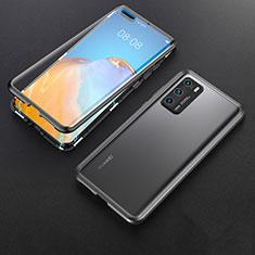 Handyhülle Hülle Luxus Aluminium Metall Rahmen Spiegel 360 Grad Ganzkörper Tasche T06 für Huawei P40 Schwarz