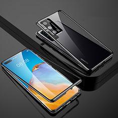 Handyhülle Hülle Luxus Aluminium Metall Rahmen Spiegel 360 Grad Ganzkörper Tasche T07 für Huawei P40 Schwarz