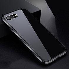 Handyhülle Hülle Luxus Aluminium Metall Rahmen Spiegel 360 Grad Tasche für Apple iPhone 8 Plus Schwarz