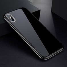 Handyhülle Hülle Luxus Aluminium Metall Rahmen Spiegel 360 Grad Tasche für Apple iPhone X Schwarz