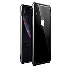 Handyhülle Hülle Luxus Aluminium Metall Rahmen Spiegel 360 Grad Tasche für Apple iPhone XR Schwarz
