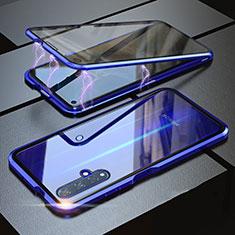 Handyhülle Hülle Luxus Aluminium Metall Rahmen Spiegel 360 Grad Tasche für Huawei Honor 20 Blau