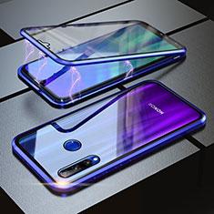 Handyhülle Hülle Luxus Aluminium Metall Rahmen Spiegel 360 Grad Tasche für Huawei Honor 20 Lite Blau