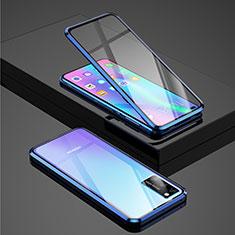 Handyhülle Hülle Luxus Aluminium Metall Rahmen Spiegel 360 Grad Tasche für Huawei Honor V30 5G Blau