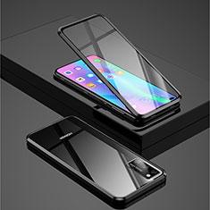 Handyhülle Hülle Luxus Aluminium Metall Rahmen Spiegel 360 Grad Tasche für Huawei Honor View 30 5G Schwarz