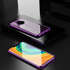 Handyhülle Hülle Luxus Aluminium Metall Rahmen Spiegel 360 Grad Tasche für Huawei Mate 30 5G Violett