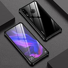 Handyhülle Hülle Luxus Aluminium Metall Rahmen Spiegel 360 Grad Tasche für Huawei Nova 4e Schwarz