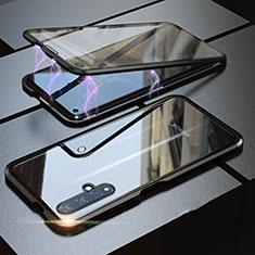 Handyhülle Hülle Luxus Aluminium Metall Rahmen Spiegel 360 Grad Tasche für Huawei Nova 5T Schwarz
