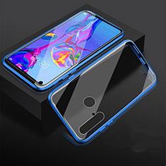 Handyhülle Hülle Luxus Aluminium Metall Rahmen Spiegel 360 Grad Tasche für Huawei P20 Lite (2019) Blau