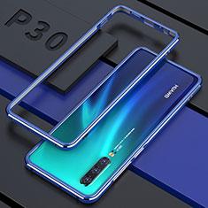 Handyhülle Hülle Luxus Aluminium Metall Rahmen Spiegel 360 Grad Tasche für Huawei P30 Blau