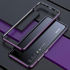 Handyhülle Hülle Luxus Aluminium Metall Rahmen Spiegel 360 Grad Tasche für Huawei P30 Violett