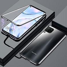 Handyhülle Hülle Luxus Aluminium Metall Rahmen Spiegel 360 Grad Tasche für Huawei P40 Lite Schwarz