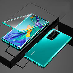 Handyhülle Hülle Luxus Aluminium Metall Rahmen Spiegel 360 Grad Tasche für Huawei P40 Pro+ Plus Grün