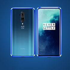 Handyhülle Hülle Luxus Aluminium Metall Rahmen Spiegel 360 Grad Tasche für OnePlus 7T Pro 5G Blau