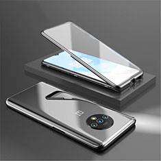 Handyhülle Hülle Luxus Aluminium Metall Rahmen Spiegel 360 Grad Tasche für OnePlus 7T Schwarz