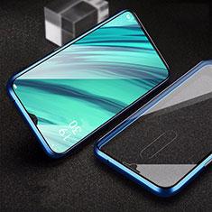 Handyhülle Hülle Luxus Aluminium Metall Rahmen Spiegel 360 Grad Tasche für Oppo A9 Blau