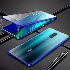 Handyhülle Hülle Luxus Aluminium Metall Rahmen Spiegel 360 Grad Tasche für Oppo K3 Blau