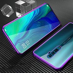 Handyhülle Hülle Luxus Aluminium Metall Rahmen Spiegel 360 Grad Tasche für Oppo Reno 10X Zoom Violett