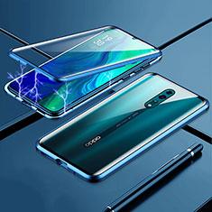 Handyhülle Hülle Luxus Aluminium Metall Rahmen Spiegel 360 Grad Tasche für Oppo Reno Z Blau