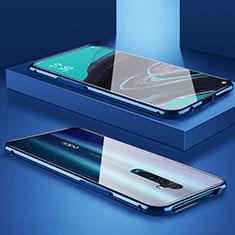Handyhülle Hülle Luxus Aluminium Metall Rahmen Spiegel 360 Grad Tasche für Oppo Reno2 Blau