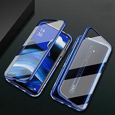 Handyhülle Hülle Luxus Aluminium Metall Rahmen Spiegel 360 Grad Tasche für Oppo Reno2 Z Blau