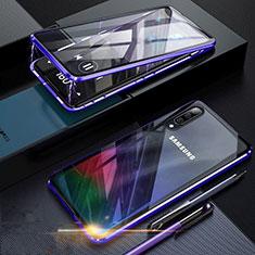 Handyhülle Hülle Luxus Aluminium Metall Rahmen Spiegel 360 Grad Tasche für Samsung Galaxy A70 Blau