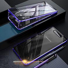 Handyhülle Hülle Luxus Aluminium Metall Rahmen Spiegel 360 Grad Tasche für Samsung Galaxy A80 Blau