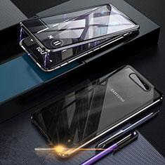 Handyhülle Hülle Luxus Aluminium Metall Rahmen Spiegel 360 Grad Tasche für Samsung Galaxy A80 Schwarz