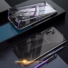 Handyhülle Hülle Luxus Aluminium Metall Rahmen Spiegel 360 Grad Tasche für Samsung Galaxy Note 10 Plus 5G Schwarz