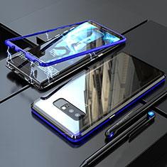 Handyhülle Hülle Luxus Aluminium Metall Rahmen Spiegel 360 Grad Tasche für Samsung Galaxy Note 8 Blau