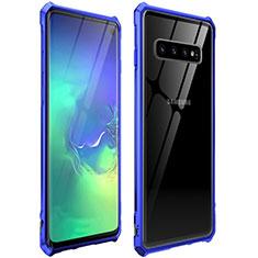 Handyhülle Hülle Luxus Aluminium Metall Rahmen Spiegel 360 Grad Tasche für Samsung Galaxy S10 Blau