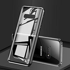 Handyhülle Hülle Luxus Aluminium Metall Rahmen Spiegel 360 Grad Tasche für Samsung Galaxy S10e Schwarz