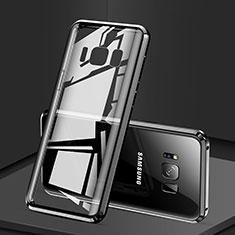 Handyhülle Hülle Luxus Aluminium Metall Rahmen Spiegel 360 Grad Tasche für Samsung Galaxy S8 Plus Schwarz
