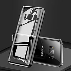 Handyhülle Hülle Luxus Aluminium Metall Rahmen Spiegel 360 Grad Tasche für Samsung Galaxy S8 Schwarz