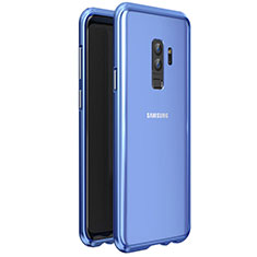 Handyhülle Hülle Luxus Aluminium Metall Rahmen Spiegel 360 Grad Tasche für Samsung Galaxy S9 Plus Blau