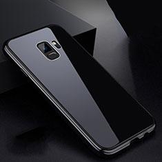 Handyhülle Hülle Luxus Aluminium Metall Rahmen Spiegel 360 Grad Tasche für Samsung Galaxy S9 Schwarz