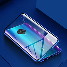 Handyhülle Hülle Luxus Aluminium Metall Rahmen Spiegel 360 Grad Tasche für Vivo X50 Lite Blau