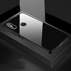Handyhülle Hülle Luxus Aluminium Metall Rahmen Spiegel 360 Grad Tasche für Xiaomi Mi 8 Schwarz